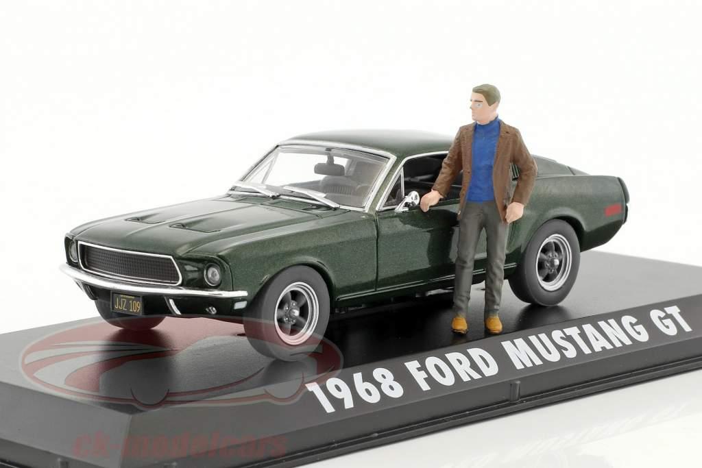 Ford Mustang GT anno di costruzione 1968 film Bullitt (1968) verde metallico con cifra S. McQueen 1:43 Greenlight