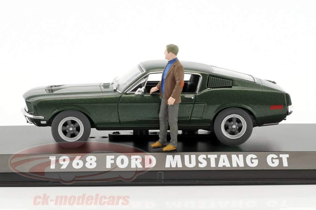 Ford Mustang GT Baujahr 1968 Film Bullitt (1968) grün metallic mit Figur S. McQueen 1:43 Greenlight