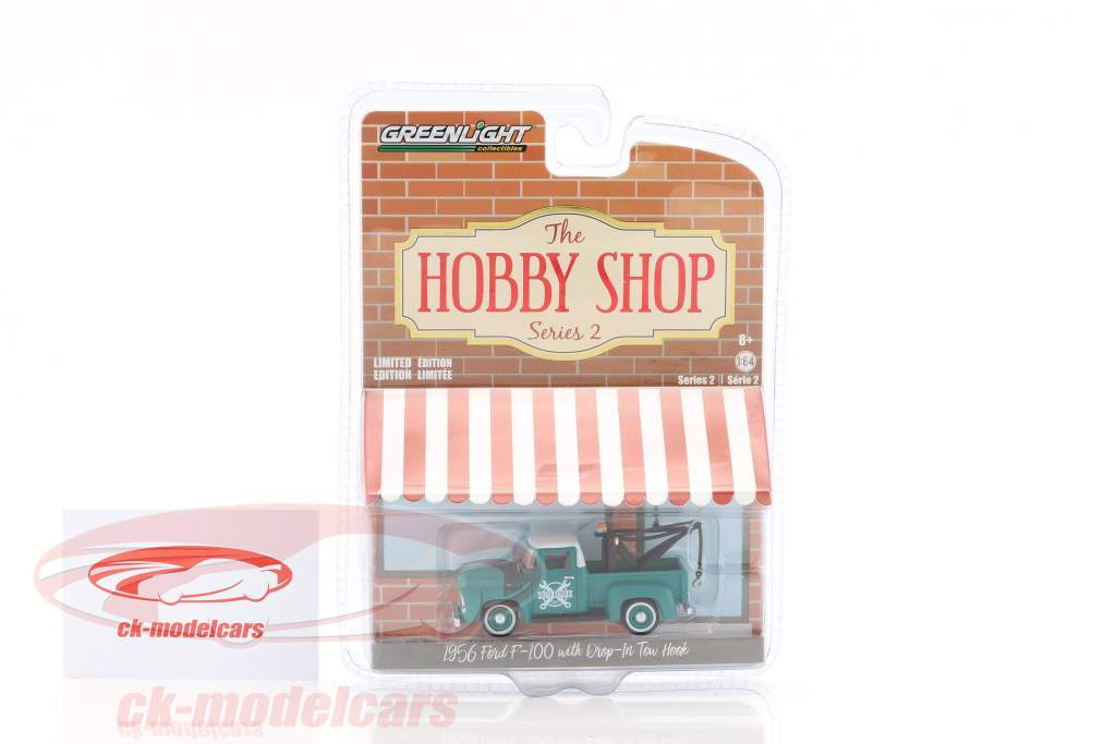 Ford F-100 year 1956 wrecker green / White 1:64 Greenlight
