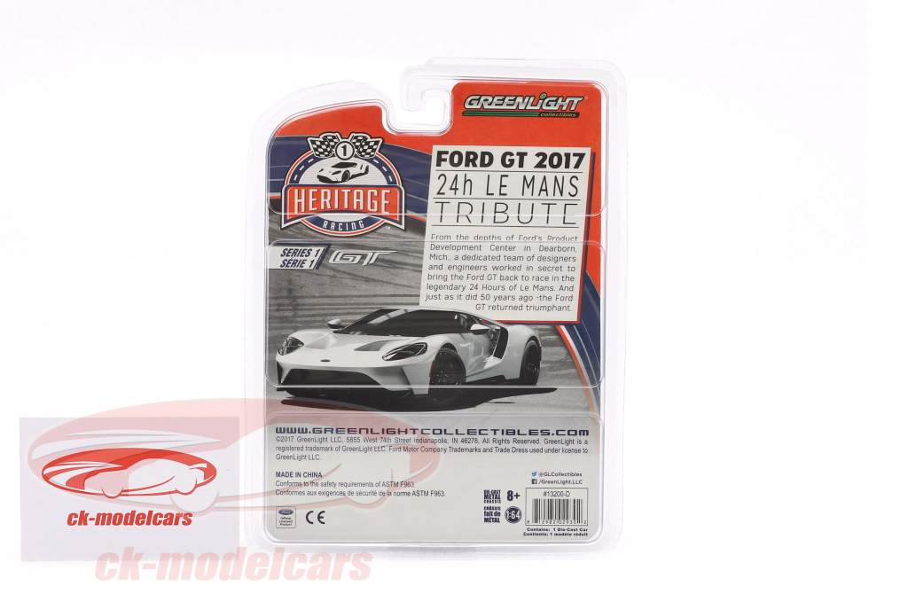 Ford GT Baujahr 2017 #1 Ford GT40 MK IV 1967 Tribute Racing Heritage Series rot 1:64 Greenlight