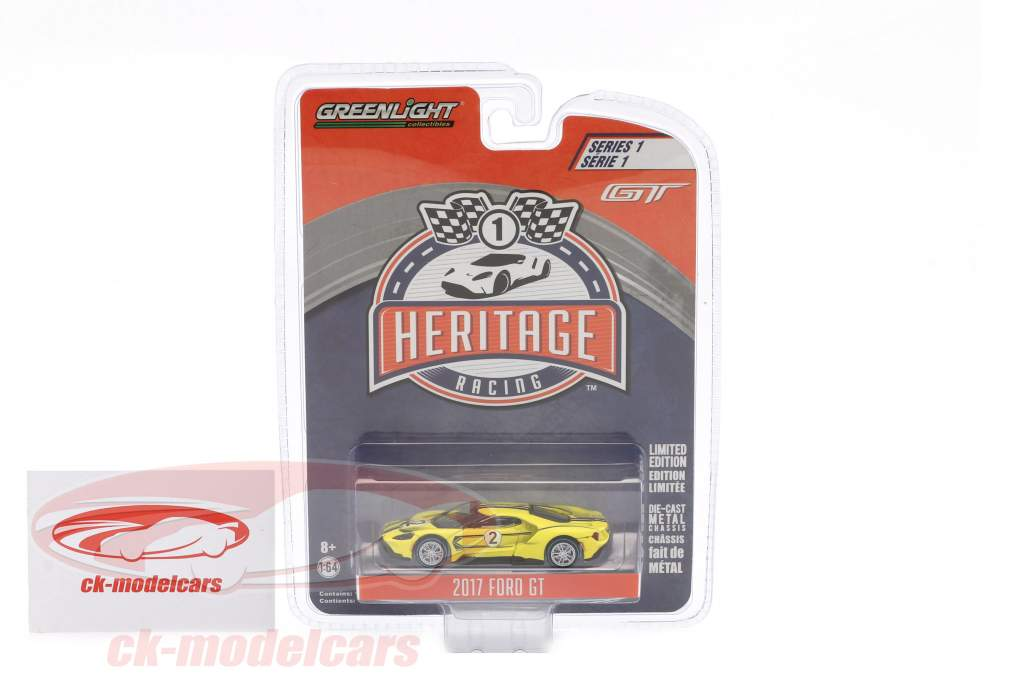 Ford GT year 2017 #2 Ford GT40 MK IV 1967 Tribute Racing Heritage Series yellow 1:64 Greenlight