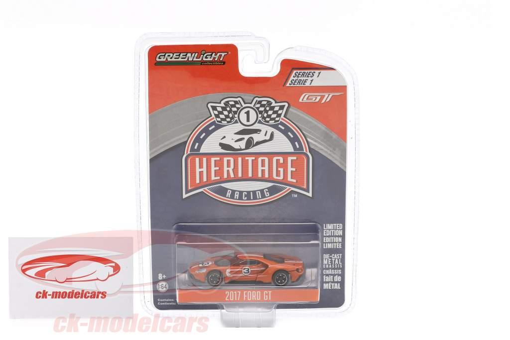 Ford GT Baujahr 2017 #3 Ford GT40 MK IV 1967 Tribute Racing Heritage Series orange 1:64 Greenlight