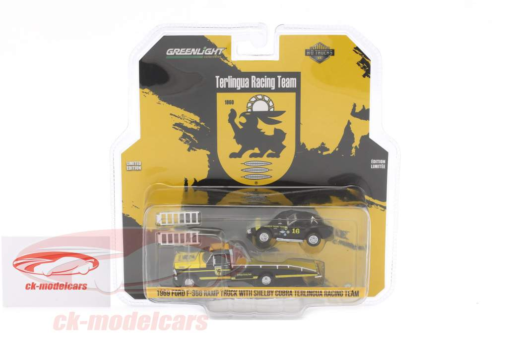 Ford F-350 Ramp Truck year 1969 with Shelby Cobra Terlingua Racing black / yellow 1:64 Greenlight