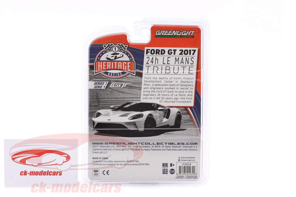 Ford GT year 2017 #1 Ford GT40 MK II 1966 Tribute Racing Heritage Series light blue 1:64 Greenlight