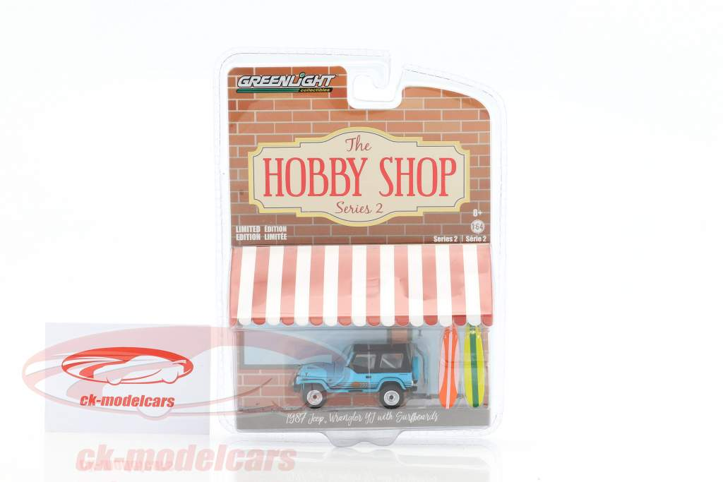 Jeep Wrangler YJ with surfboards blue 1:64 Greenlight