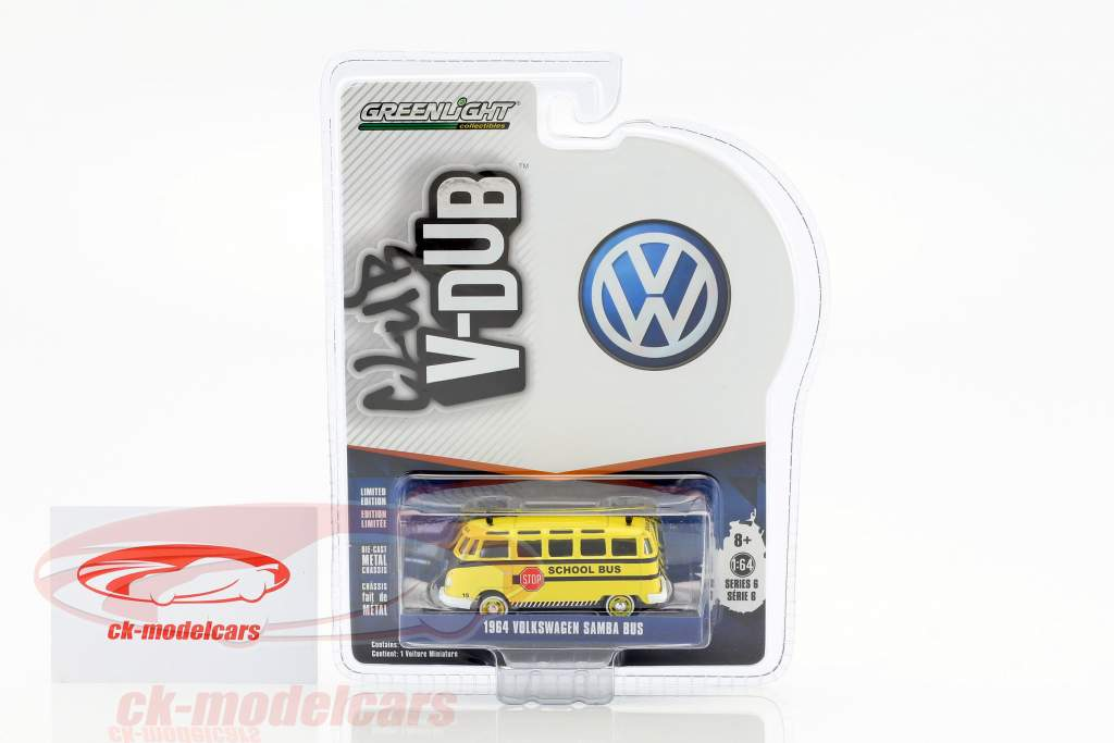 Volkswagen VW Samba Bus School bus year 1964 1:64 Greenlight