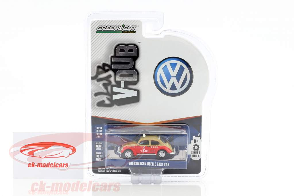 Volkswagen VW Beetle Taxi red / gold 1:64 Greenlight