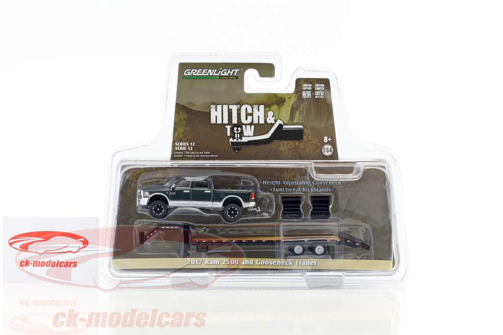 Dodge Ram 2500 year 2017 with Gooseneck Trailer green metallic / silver 1:64 Greenlight