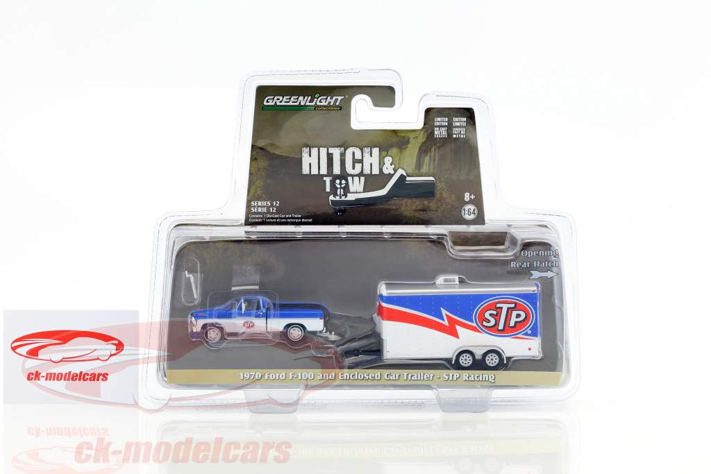 Ford F-100 Pick-Up Year 1970 with Enclosed Car Trailer STP Racing white / blue / red 1:64 Greenlight