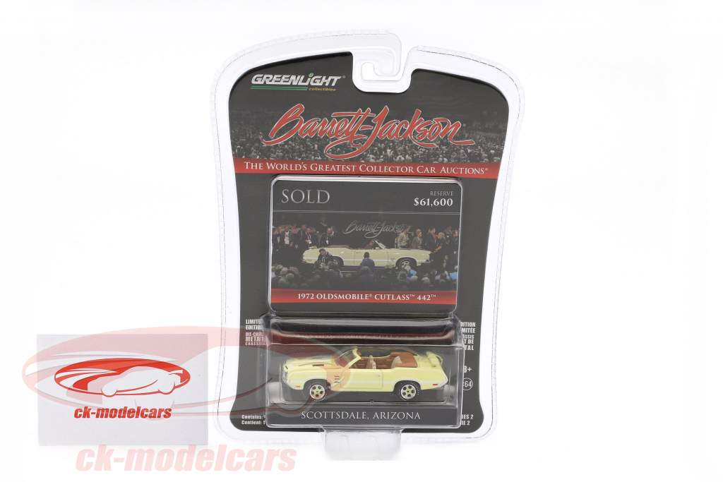 Oldsmobile Cutlass 442 year 1972 yellow / white 1:64 Greenlight