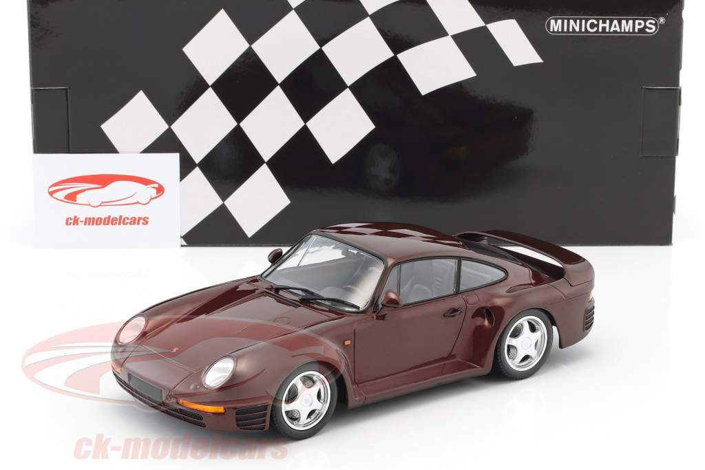 Porsche 959 année de construction 1987 sombre rouge métallique 1:18 Minichamps