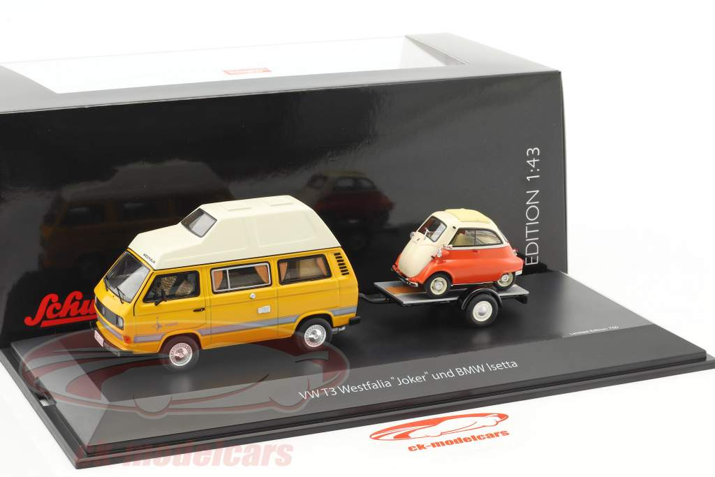 Volkswagen VW T3 Joker camper with car trailer and BMW Isetta yellow / red / White 1:43 Schuco