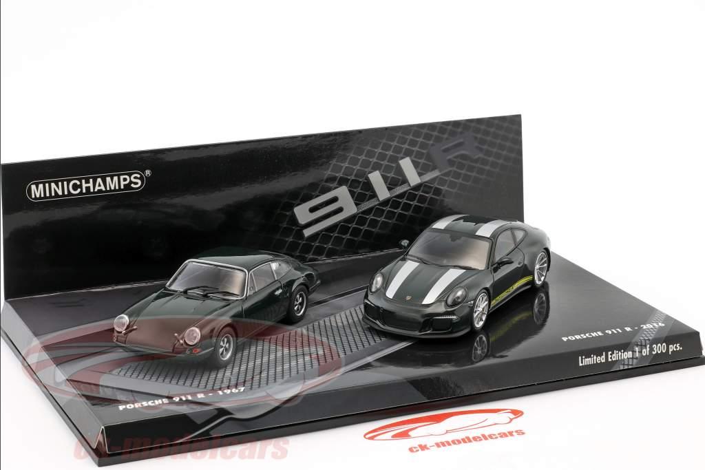 2-Car Set Porsche 911 R année de construction 1967 & Porsche 911 R année de construction 2016 vert foncé 1:43 Minichamps