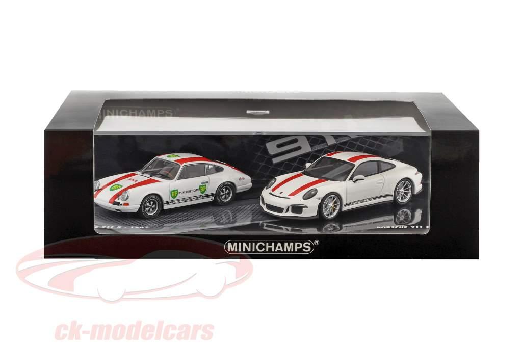 2-Car Set Porsche 911 R anno di costruzione 1967 & Porsche 911 R anno di costruzione 2016 bianco / rosso 1:43 Minichamps