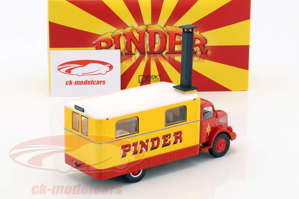 Unic ZU 51 Kitchen Truck Pinder circus year 1952 yellow / red 1:43 Direkt Collections