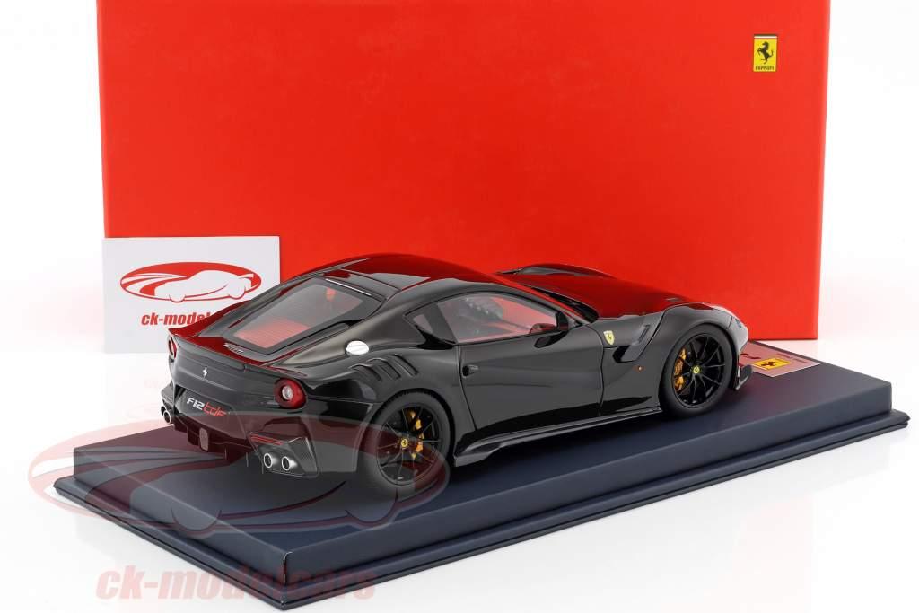 Ferrari F12 TDF Baujahr 2015 schwarz / rot / silber mit Vitrine 1:18 LookSmart