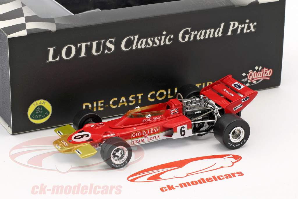 Jochen Rindt Lotus 72D #6 Winner French GP World Champion formula 1 1970 1:43 Quartzo