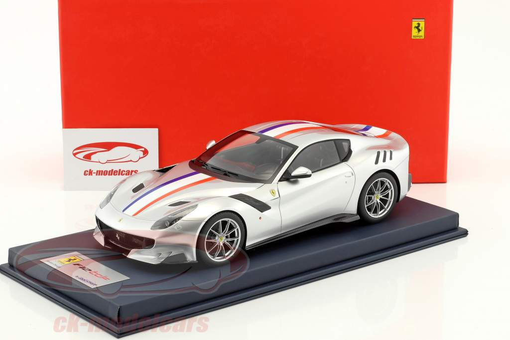 Ferrari F12 TDF year 2015 silver / White / blue / red With Showcase 1:18 LookSmart