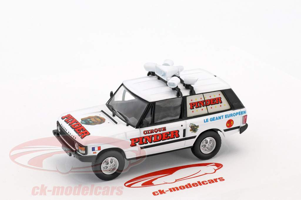 Range Rover Advertising Vehicle Pinder circus white / red in Blister 1:43 Direkt Collections