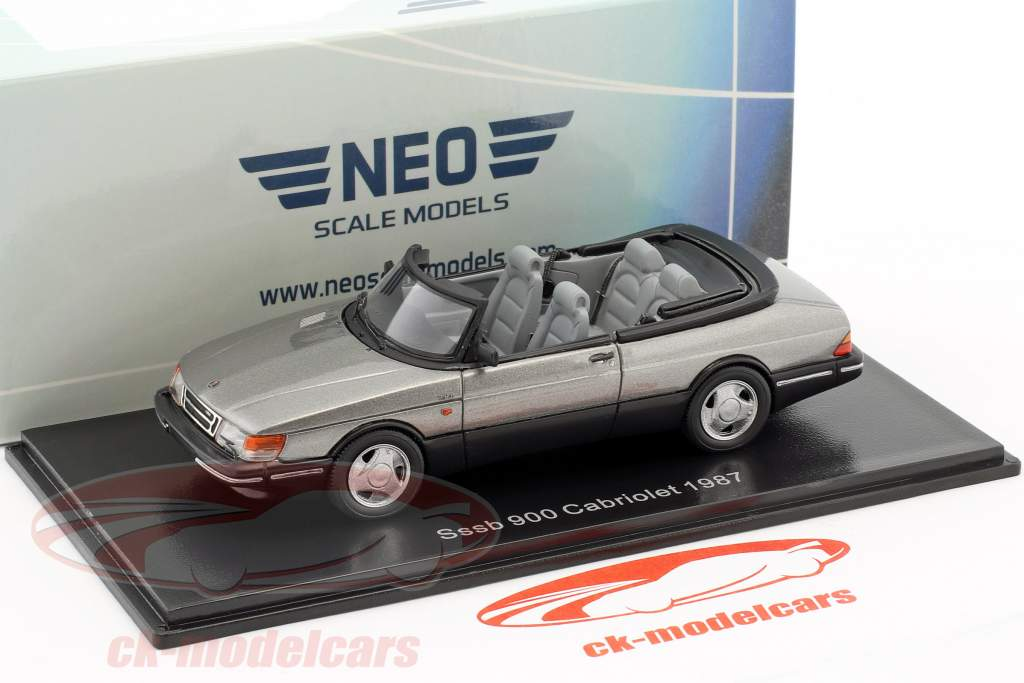 Saab 900 Cabriolet Baujahr 1987 grau metallic 1:43 Neo