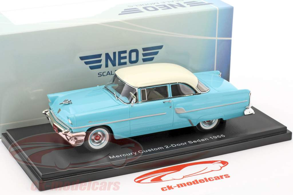 Mercury Custom 2-door Sedan year 1955 light blue / white 1:43 Neo