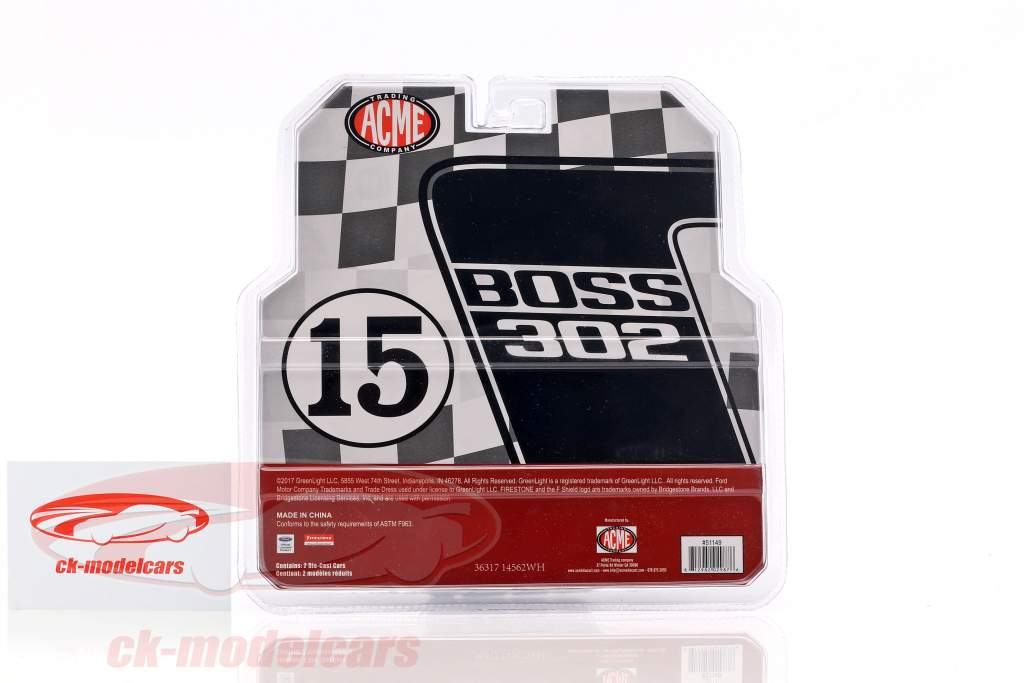 Ford F-350 Ramp Truck mit Ford Mustang #15 Trans Am 1969 Parnelli Jones 1:64 Greenlight