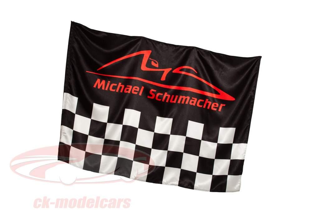 Michael Schumacher bandiera Chequered 140 x 100 cm nero / rosso / grigio