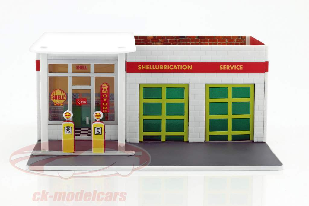 Vintage gas stazione Shell Mechanic's Corner Series 2 verde versione 1:64 Greenlight