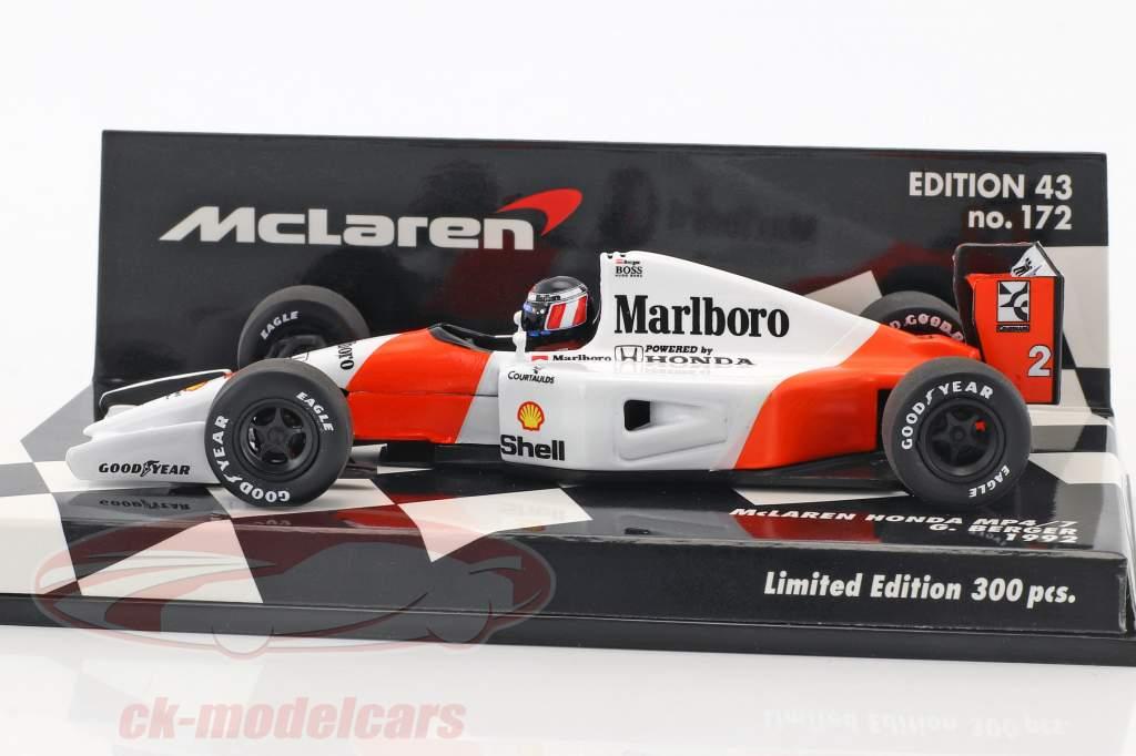 Gerhard Berger McLaren MP4/7 #2 formula 1 1992 1:43 Minichamps