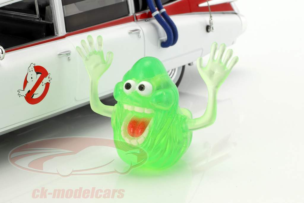 Cadillac Ambulance Ecto-1 year 1959 Movie Ghostbusters (1984) white with figure Slimer 1:18 Ertl
