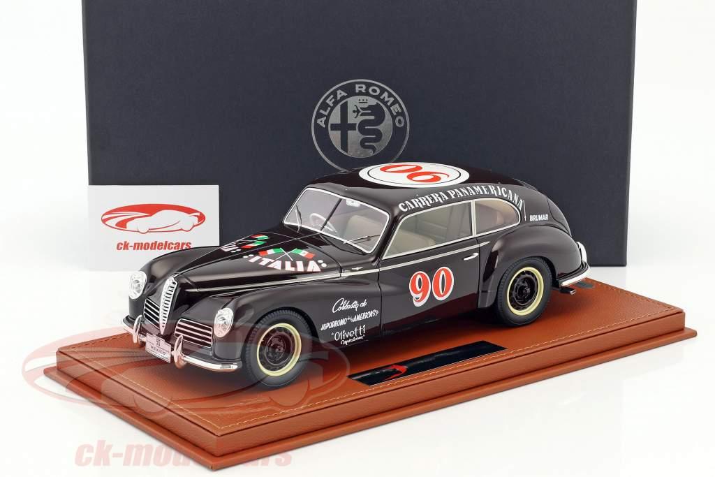 Alfa Romeo 6C 2500 Freccia D'Oro #90 Carrera Panamericana 1950 Taruffi, Ceroli avec vitrine 1:18 BBR