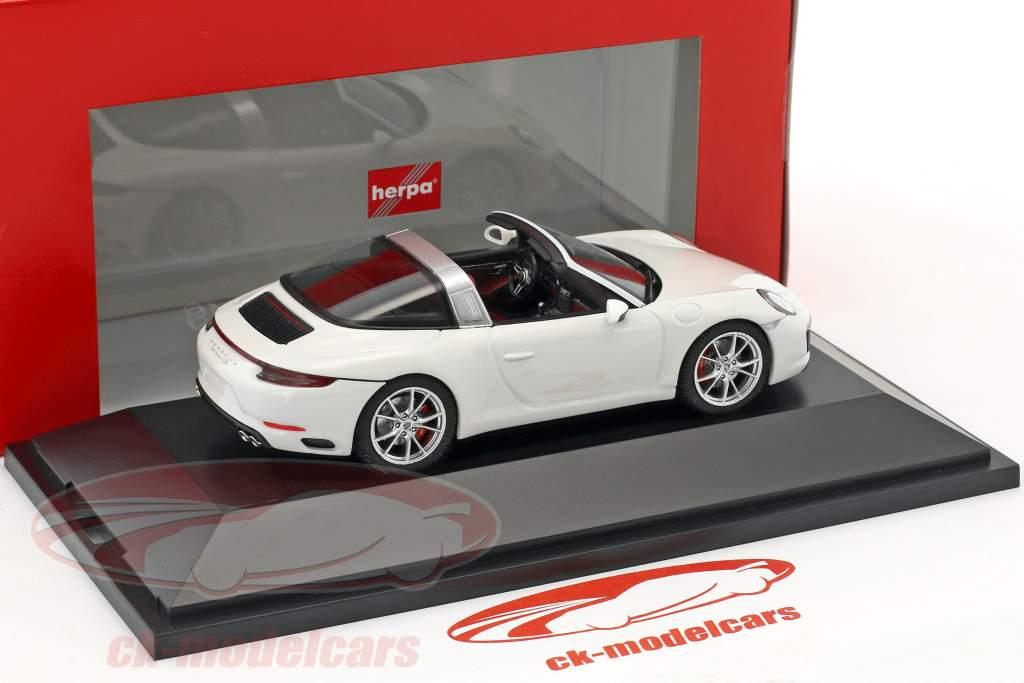 Porsche 911 (991 II) Targa 4S year 2016 white 1:43 Herpa
