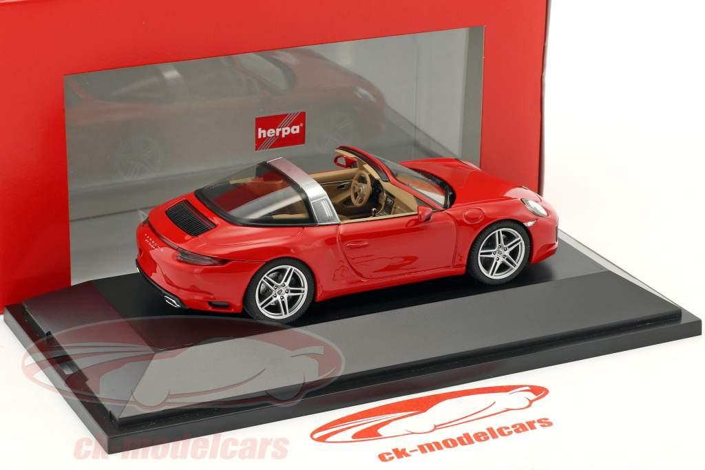 Porsche 911 (991 II) Targa 4S year 2016 red 1:43 Herpa
