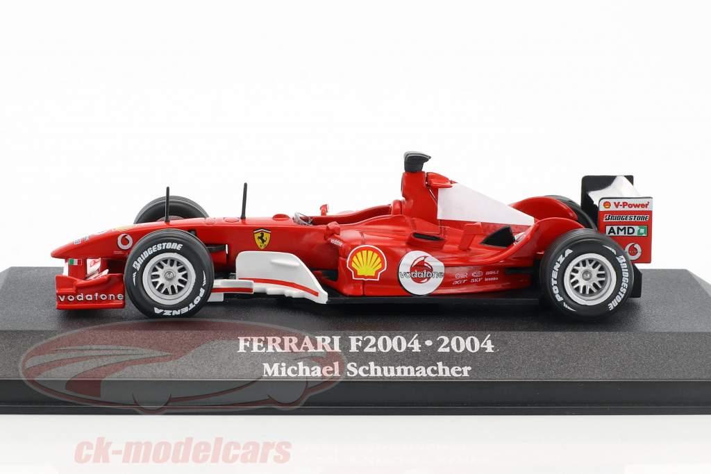 Michael Schumacher Ferrari F2004 #1 champion du monde F1 2004 avec vitrine 1:43 Atlas