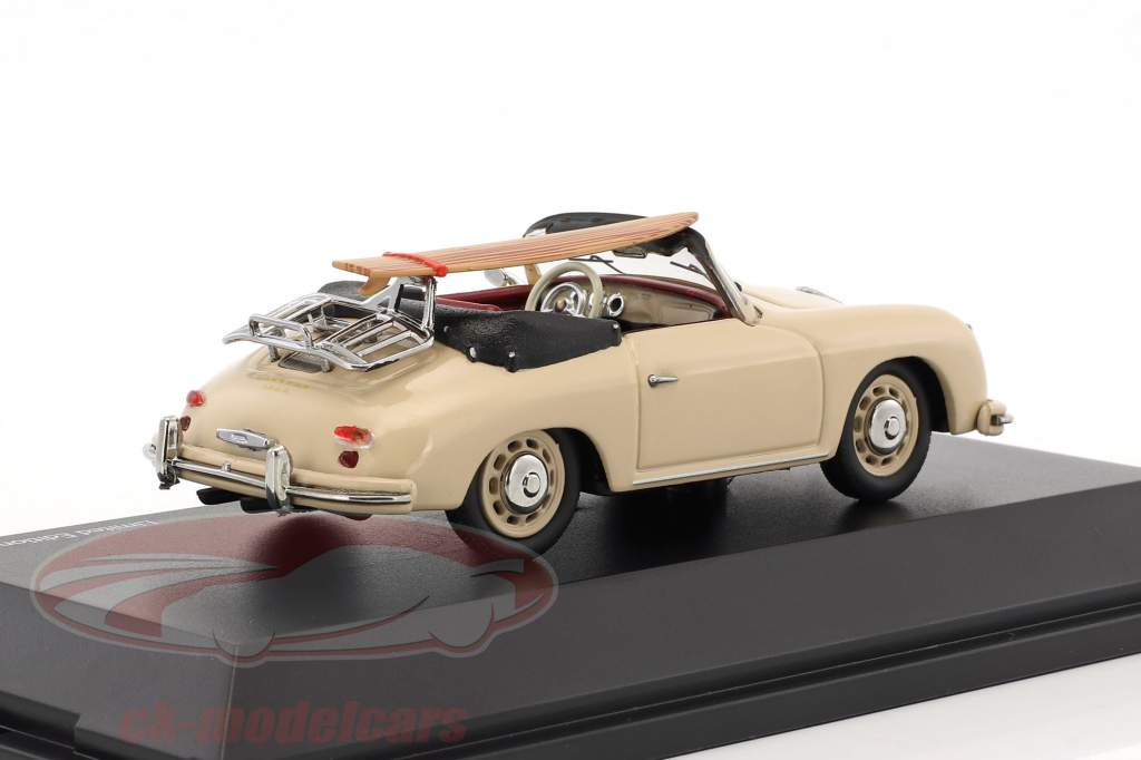 Porsche 356 A Cabriolet with surfboard Edition 70 years Porsche beige 1:43 Schuco