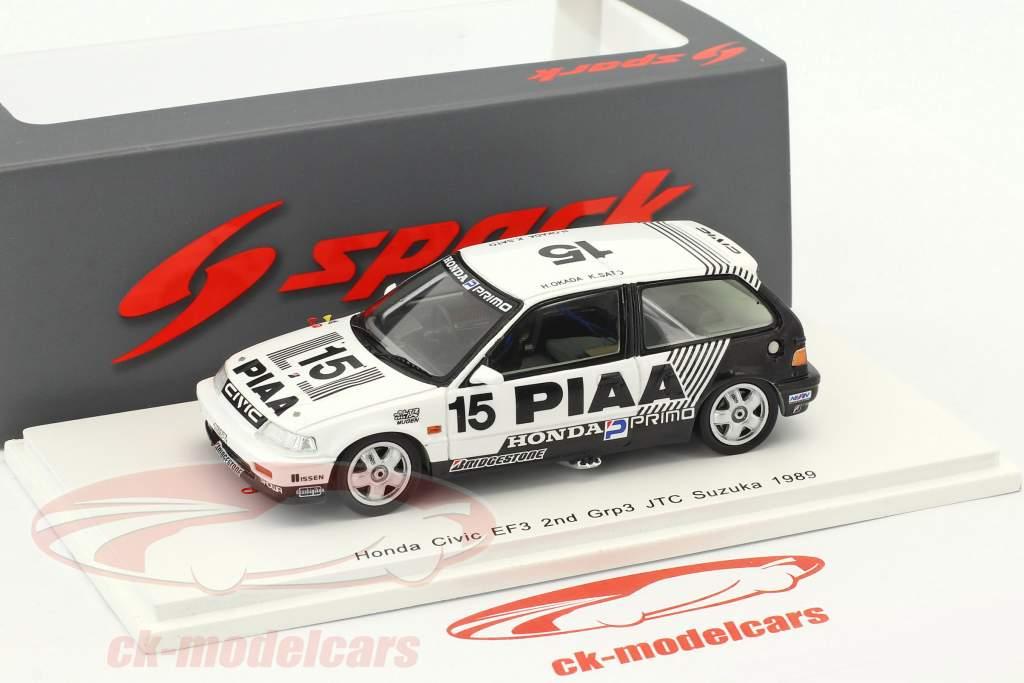 Honda Civic EF3 #15 2 Grp3 JTC Suzuka 1989 Okada, Sato 1:43 Spark