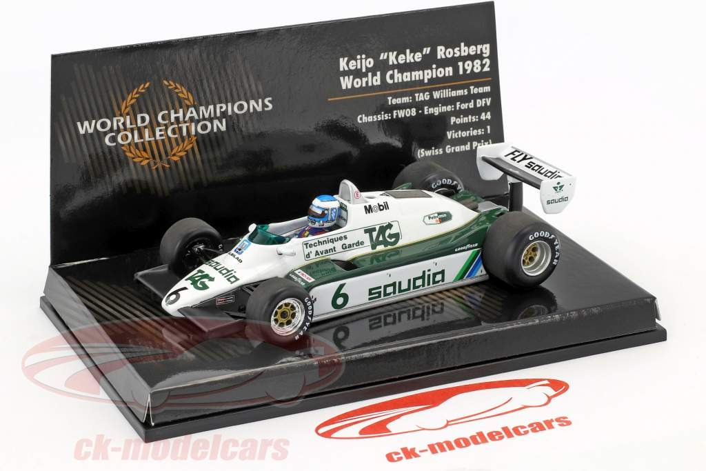Keke Rosberg Williams FW08 #6 champion du monde formule 1 1982 1:43 Minichamps