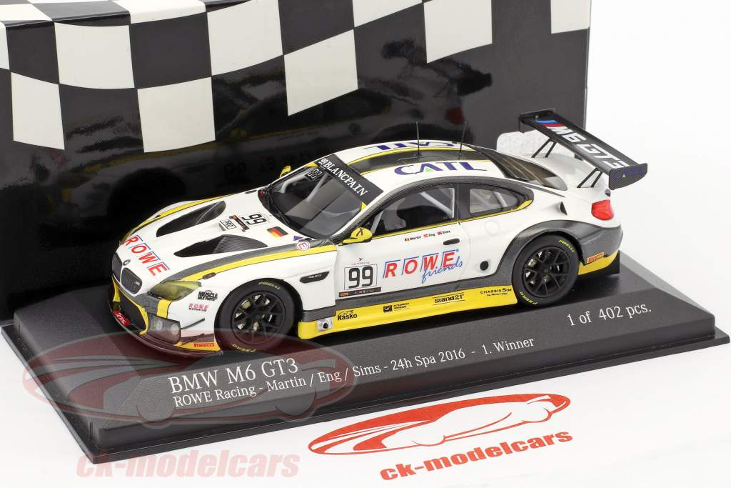 BMW M6 GT3 ROWE Racing #99 gagnant 24h Spa 2016 Martin, Eng, Sims 1:43 Minichamps