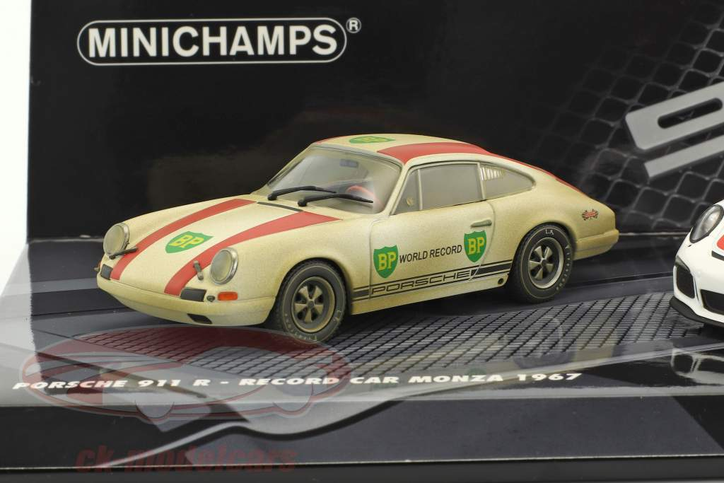 2-Car Set Porsche 911 R Monza 1967 & Porsche 911 R 2016 white / red 1:43 Minichamps