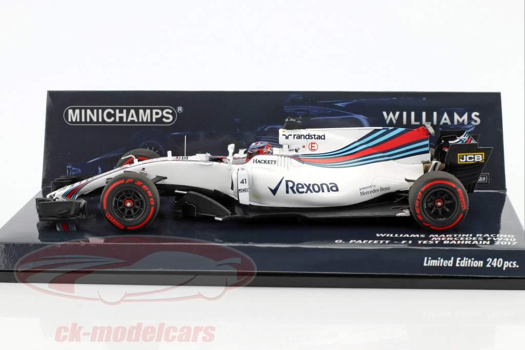 Gary Paffett Williams FW40 #41 prova bahrain formula 1 2017 1:43 Minichamps