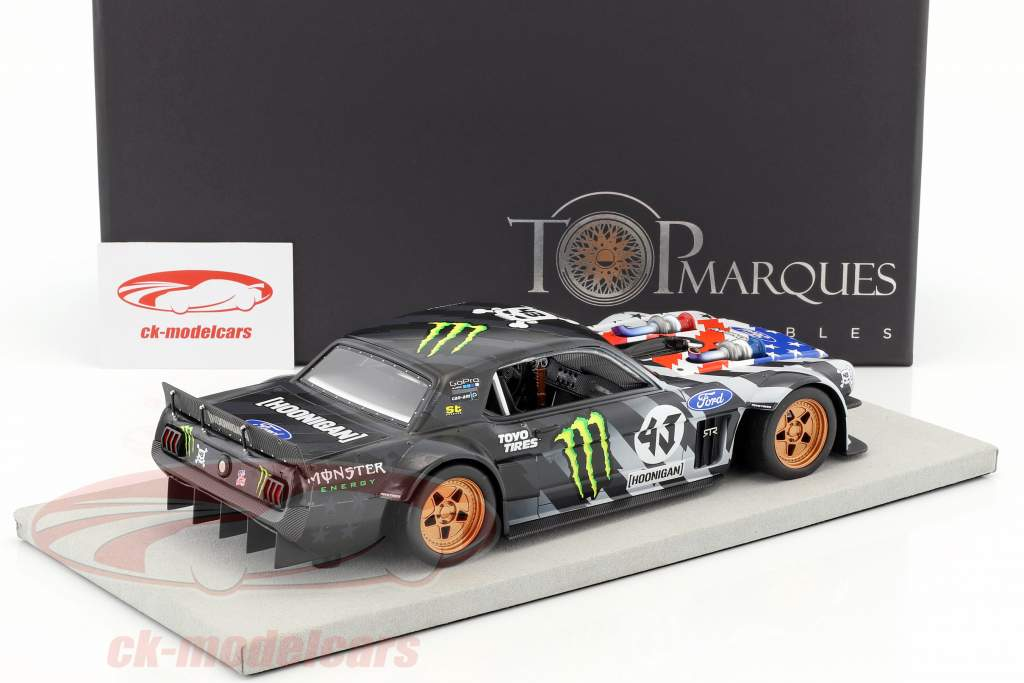 Ford Mustang Hoonigan V2 Stars and Stripes #43 Ken Block 1965 nero / grigio 1:18 TopMarques