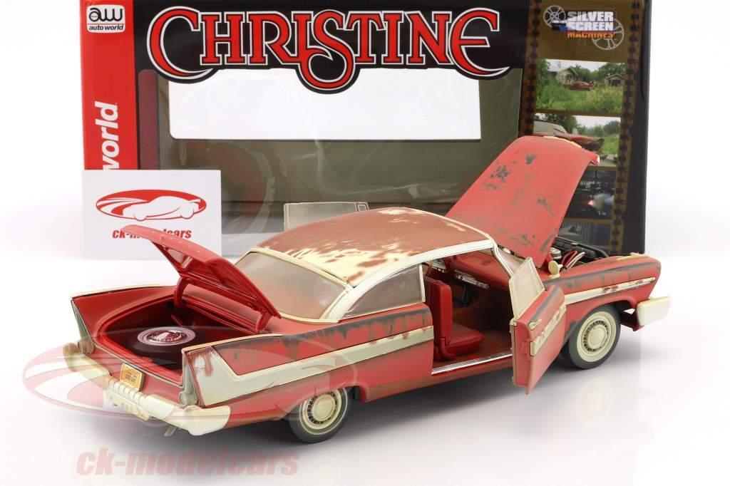 Plymouth Fury année de construction 1958 film Stephen King Christine rouge / blanc Dirty Version 1:18 Autoworld
