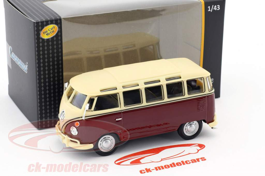 Volkswagen VW T1 Samba Bus dark red / creamy white 1:43 Cararama