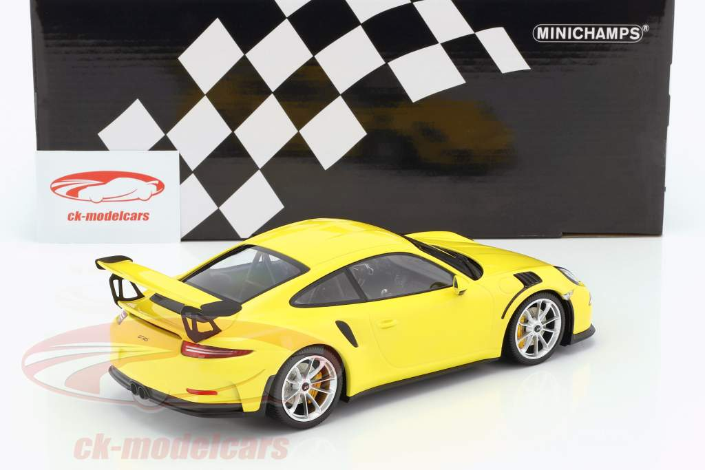 Porsche 911 (991) GT3 RS year 2015 yellow / silver rims 1:18 Minichamps