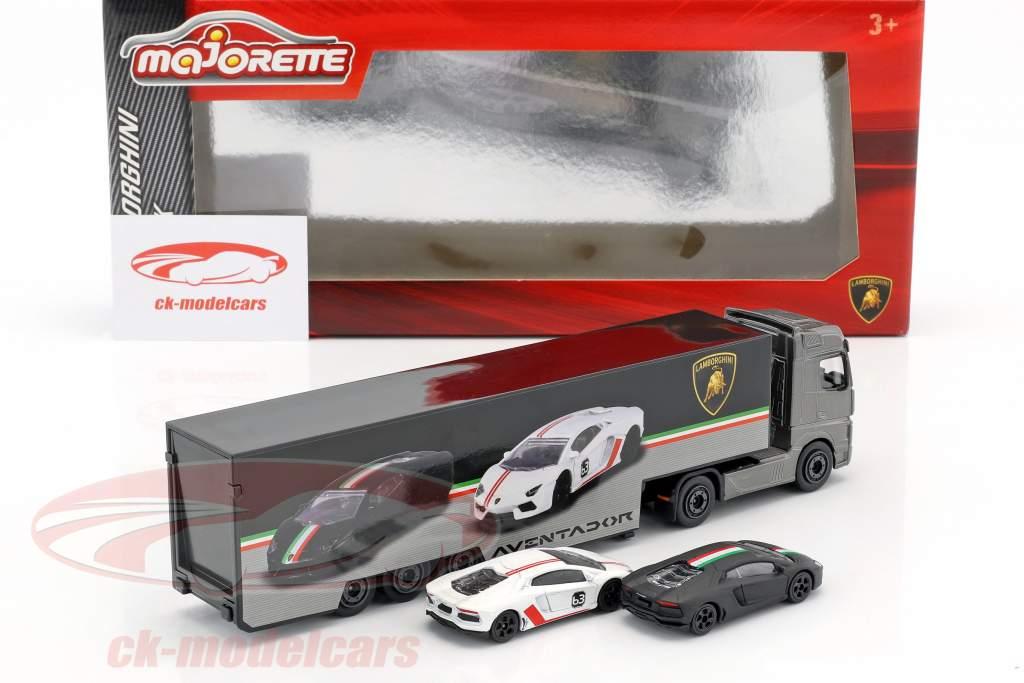 Set Lamborghini Truck Mercedes-Benz Actros mit zwei Lamborghini Aventador 1:64 Majorette