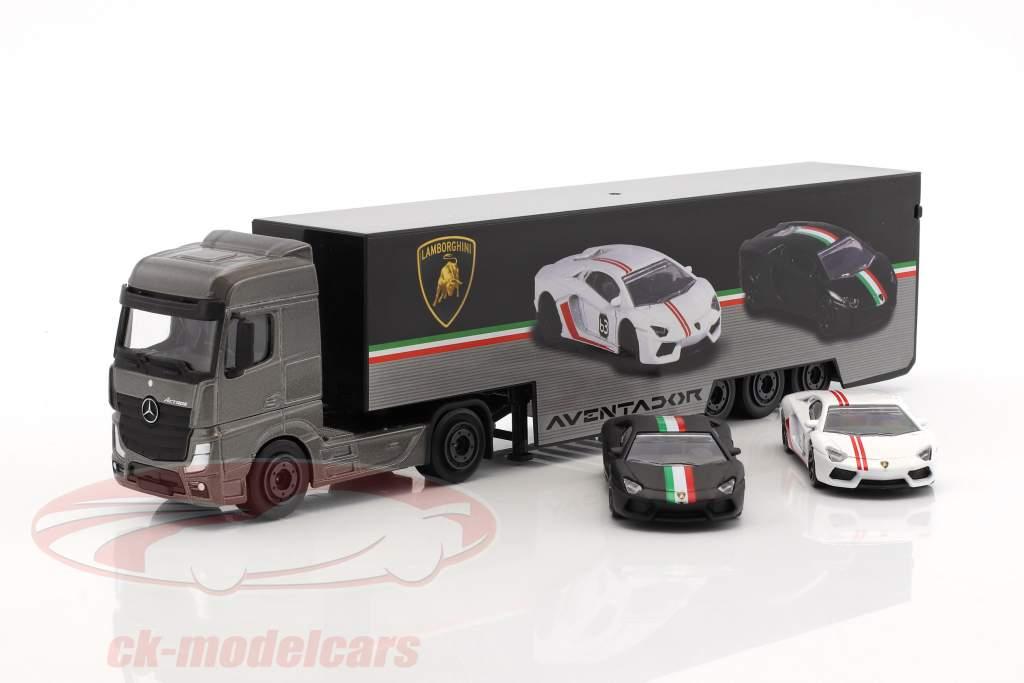 Set Lamborghini Truck Mercedes-Benz Actros avec deux Lamborghini Aventador 1:64 Majorette