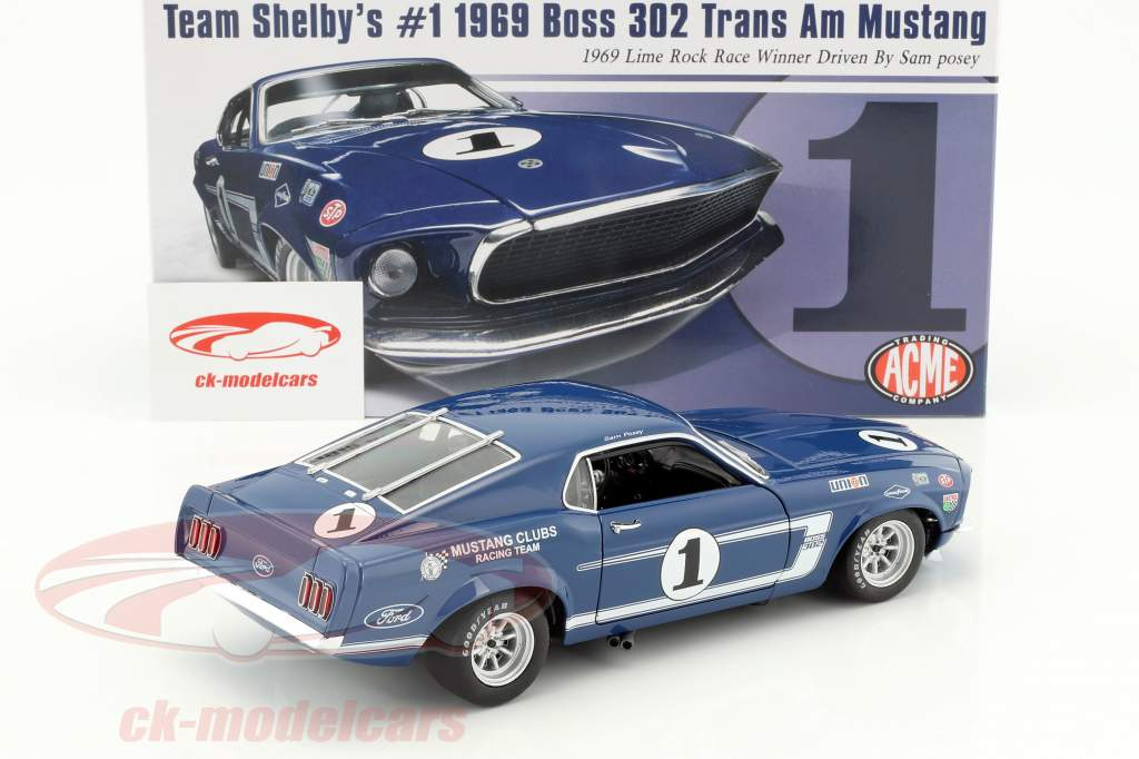 Ford Mustang Shelby Boss 302 coupé #1 gagnant Trans-Am Lime Rock 1969 Sam Posey 1:18 GMP