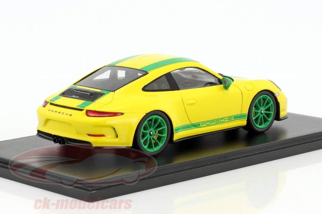 Porsche 911 (991) R Baujahr 2017 gelb / grün 1:43 Spark
