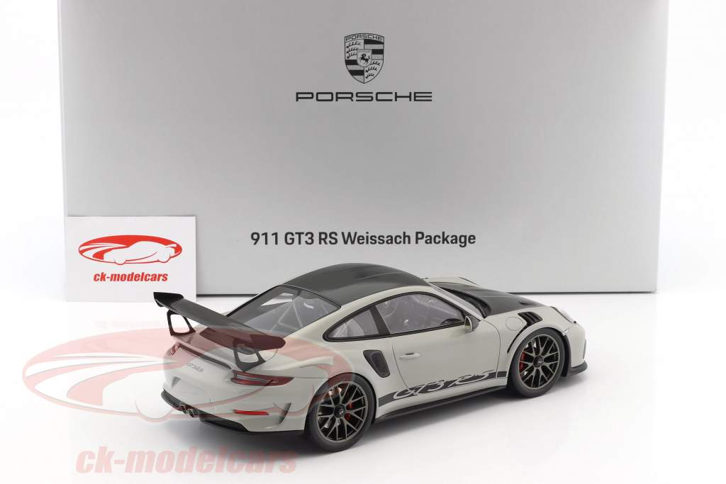 Porsche 911 (991 II) GT3 RS Weissach Package chalk gray / black with showcase 1:18 Spark