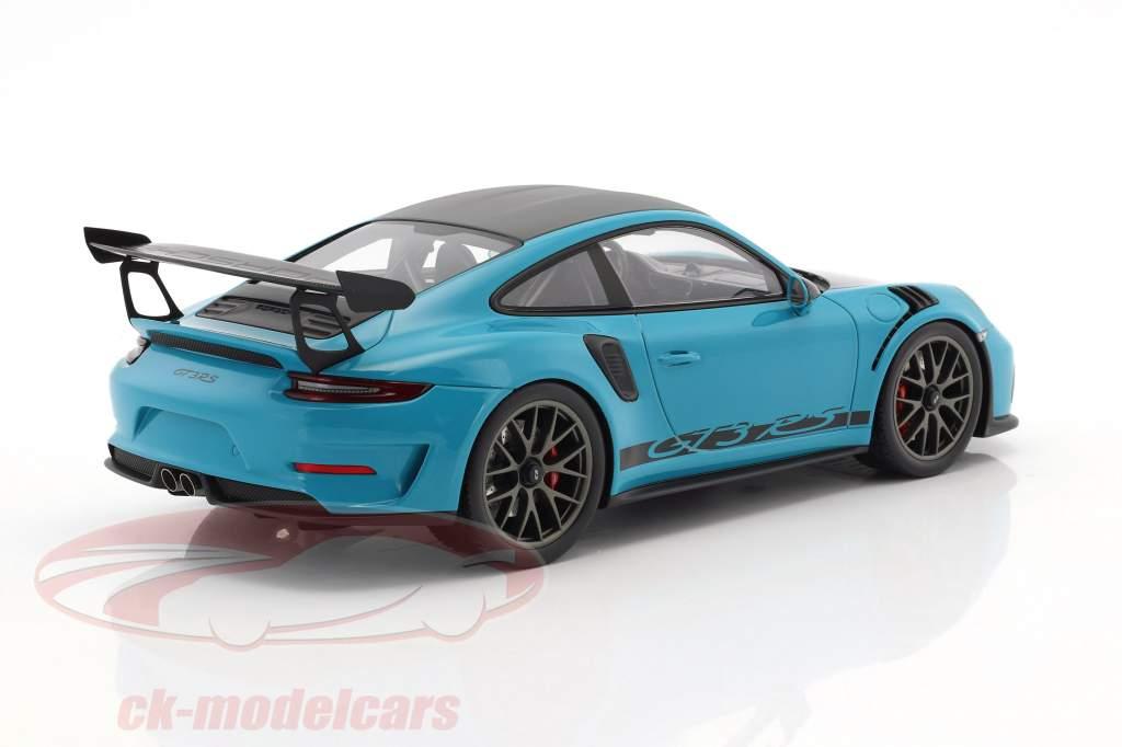Porsche 911 (991 II) GT3 RS Weissach Package miami bleu / noir avec vitrine 1:18 Spark